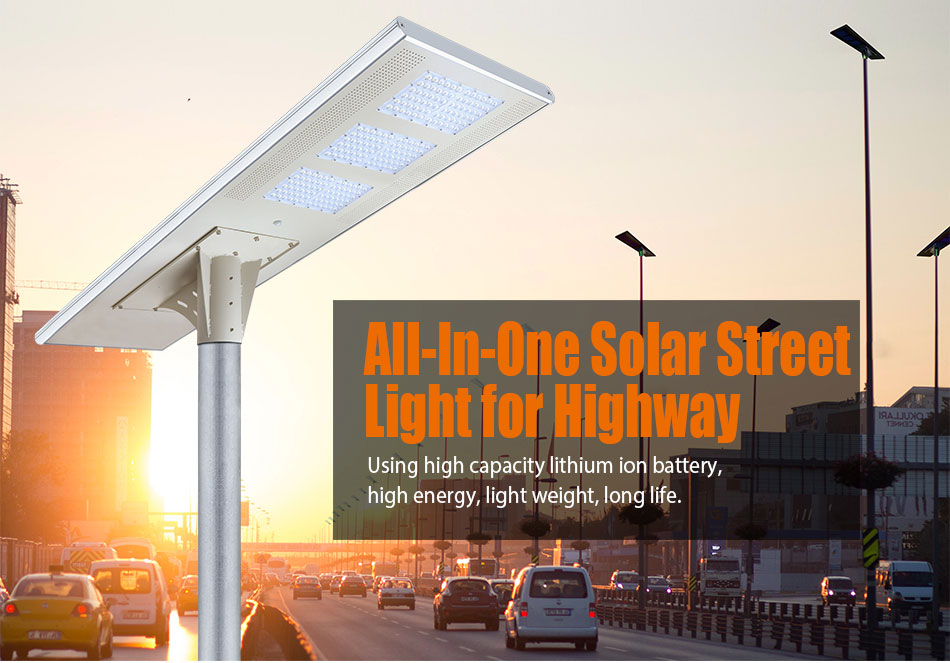 Outdoor Road Lighting 150LM/W Energy Motion 12V Battery Smart Control 100W Solar LED Street Light